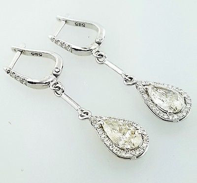 Diamond Earrings 14k White Gold Natural Pear Cut Drop Dangle 2.87 CT H color