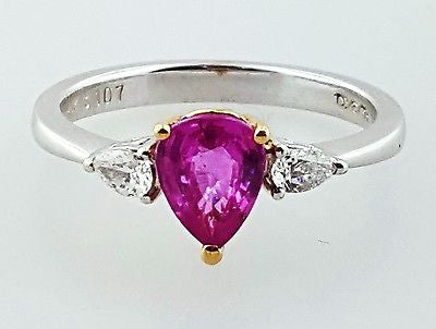 Women's Purplish Pink Sapphire and Diamonds Enagagement Ring 1.20 carat