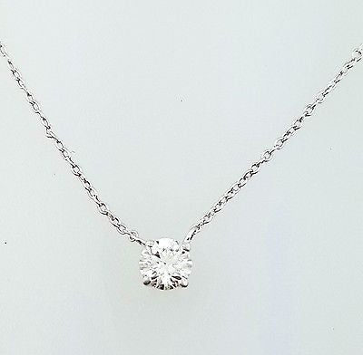 "Women's Diamond Round Pendant 18"" Necklace G Color SI1 1/4 Ct 14k White Gold"