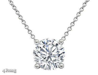 "1/2 CTW Round Cut Solid 14k White Gold Solitaire Floating Pendant 18"" Necklace"