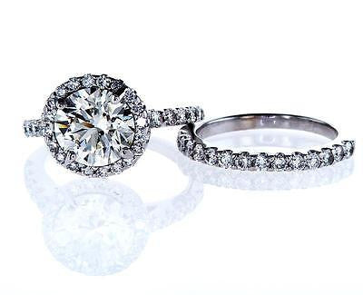 Diamond Engagement Ring14k White Gold Round Cut Halo and Wedding Band 3 ct VS1