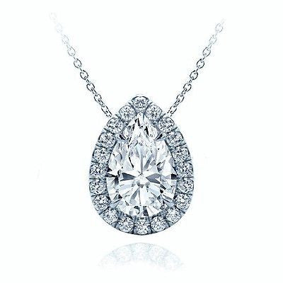 "3/4 CTW Pear Cut Solid 14k White Gold Halo Pendant 18"" Necklace VS2"