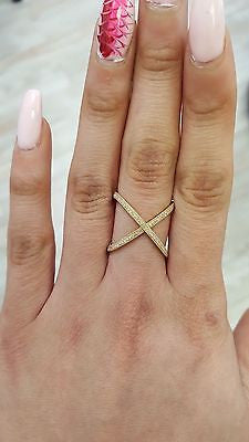 Solid 14k Yellow Gold X Ring - Criss Cross Ring Statement Diamond Ring 0.25 CTW