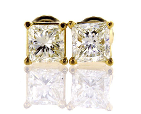 Certified 14k Yellow Gold Princess Cut Diamond Studs Earrings 1 CT J-K Color VVS