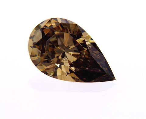 Natural Pear Cut Chocolate Brown Loose DIamond 1.69 Carats SI1 Clarity
