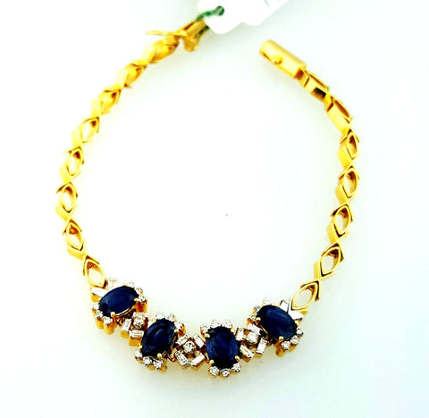Classic 4 TCW Natural Blue Sapphires and Diamond Tennis Bracelet18K Yellow Gold