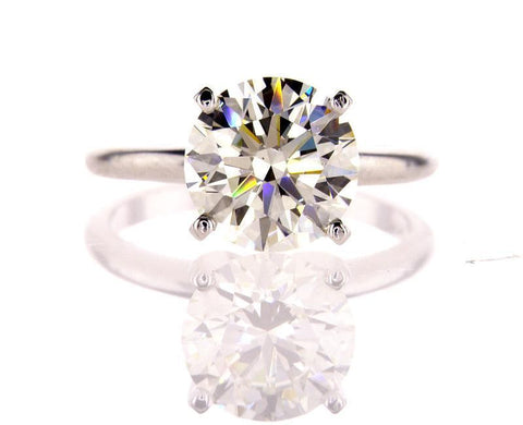 HRD Certified Natural Round Diamond Solitaire Engagement Ring  3.44 Cts J VS2