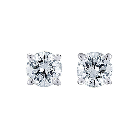 14k White Gold Push Back Natural Round Cut Diamond Studs Earrings 1/2 CTW 4.0MM