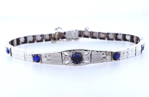 Certified Antique Vintage 18K White Gold 1.30CT Blue Sapphires Art Deco Bracelet