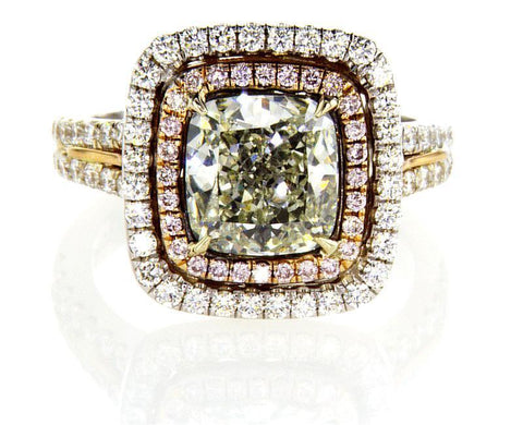 Engagement Ring GIA Rare Natural FANCY GREEN PINK Diamonds 3.28 CTW Radiant Cut