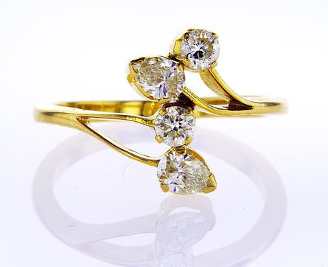 Diamond Ring Women's Estate 14K Yellow Gold Natural Pear and Round Cut 0.71 CTW