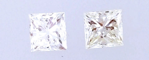 Natural Princess Cut Diamonds Matched Pair 0.48 CTW for Diamond Studs Earring