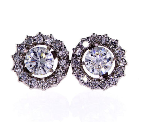 Natural GIA Round Cut Halo Stud Diamond Earrings 14k White Gold 3.79 ct H SI1