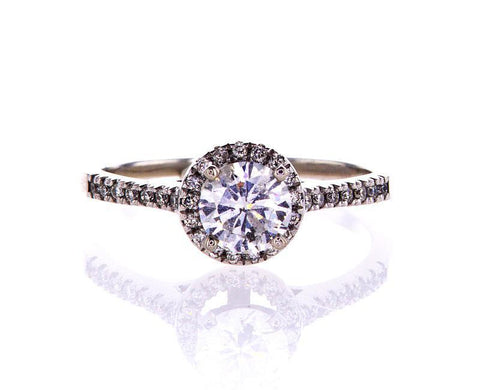 Natural Round Cut 14k White Gold Diamond Engagement Ring 1 CT F Color SI2
