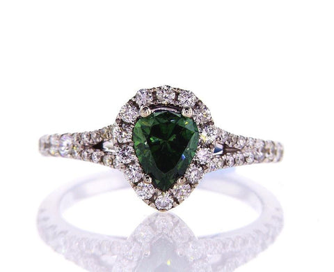 GIA Natural Fancy Vivid Green Pear Cut Diamond Engagement Ring 1.36 CTW SI2 14k