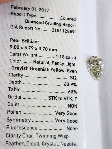 Pear Cut 100% Natural Loose Diamond GIA Certified Fancy Green-Yellow 1.18 Ct
