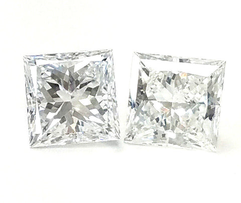 Princess Cut Natural Loose Diamonds GIA Certified MATCHED PAIR FOR EARRING 2CT