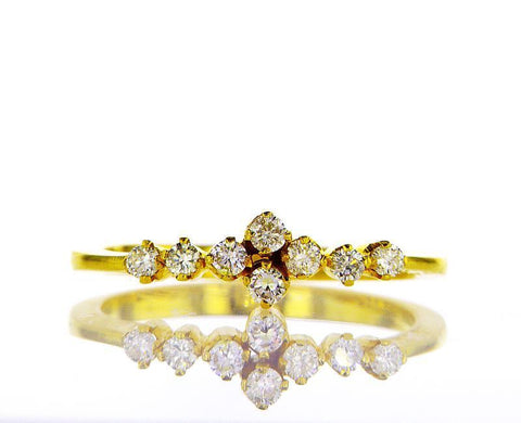 Natural Round Cut Diamond Engagement Ring 0.22 Carats F Color SI1 Clarity