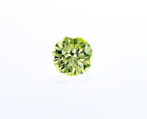 GIA Certified Natural Fancy INTESE Green Yellow Round Cut Diamond 0.27ct