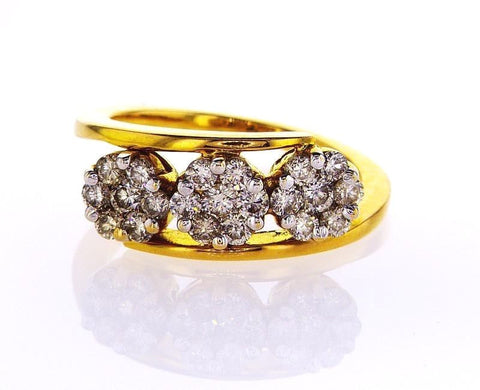 14K Yellow Gold Natural Round Cut Flower Diamond Ring 1 CTW G color SI1 Clarity