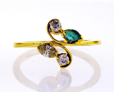 Natural Marquise & Round Cut Emerald & Diamond Engagement Ring 18k Yellow Gold