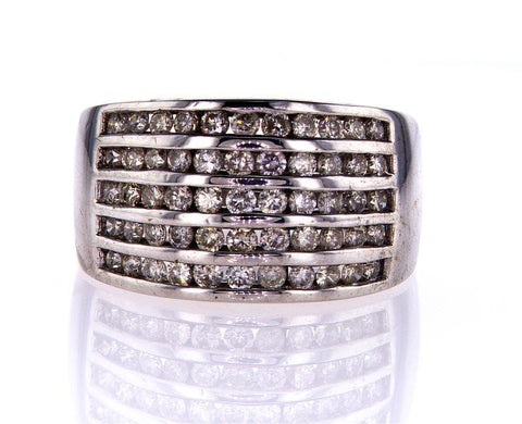 Natural Diamond Ring Round Cut 14k White Gold 1.00 CTW G-H Color SI Clarity