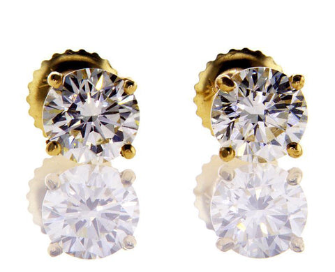 Yellow Gold Screw Back Natural Round Cut GIA Diamond Studs Earrings 2 CTW VVS1