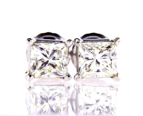Certified 14k White Gold Princess Cut Diamond Studs Earrings 1 CT H Color VVS