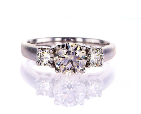 Natural Round Cut Diamond Engagement Ring GIA Certified 1.56 Carat M Color VS2