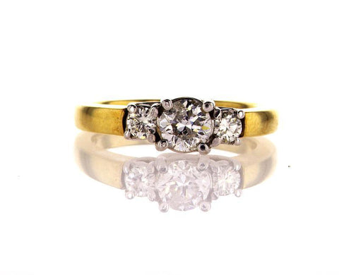 Engagement Ring Natural Round Cut Diamond  0.94 Carats F Color SI1 Clarity