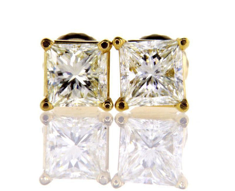 Certified 14k Yellow Gold Princess Cut Diamond Studs Earrings 1.49 CT VVS-VS