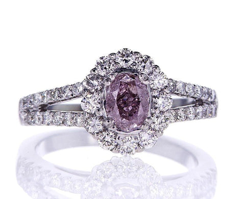 GIA Certified Oval Cut Fancy Purplish Pink Diamond Engagement Ring 1.39 CTW 14k