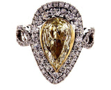 GIA Certified Light Yellow PEAR Shape Cut 14k Gold Diamond Engagement Ring VVS1
