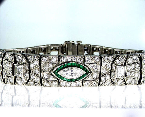 Rare Vintage Platinum Art Deco Diamond and Emerald Antique Bracelet 8.50 CT