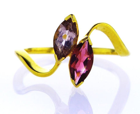 Natural Marquise Cut Pink And Purple Sapphire Ring Women 14K Yellow Gold .80 CTW