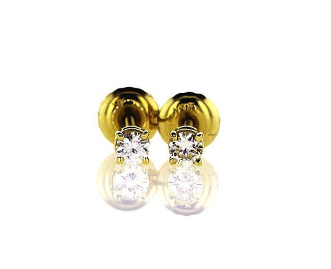 Yellow Gold Screw Back Natural Round Cut Diamond Studs Earrings 1/5 CT F VS2