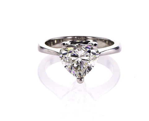 GIA Certified Heart Cut Natural Diamond Solitaire Engagement Ring 2.50 Ct I SI2