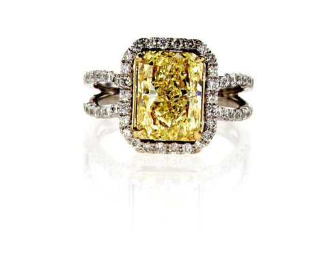 GIA Certified 3.72 CTW Natural Fancy Yellow Diamond Ring Radiant Cut White Gold