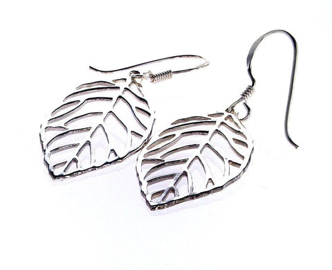"Sterling Silver High Polished 1.5"" Drop Leaf Earrings Made in Italy"