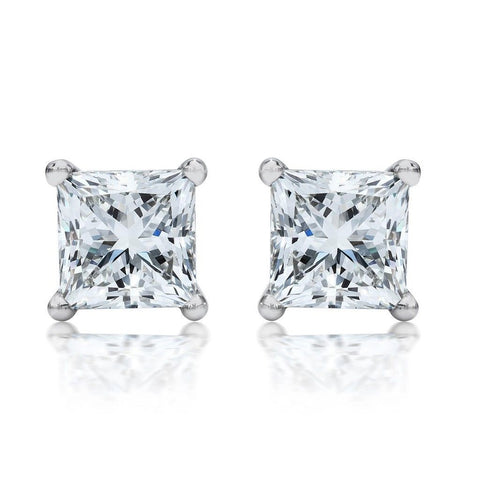 1 ct Princess Cut Diamond Stud Earrings in 14K White Gold with Screw Backs