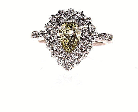 GIA Certified Rare Natural Fancy Color Pear Cut Chameleon Diamond Ring 1.51 CTW