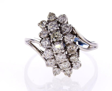 Beautiful Estate Ring Certified 14k White Gold Round Brilliant Diamonds 2 CTW