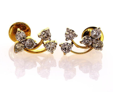 14k Yellow Gold Natural Round Cut Diamond Stud Earrings 1 CTW G-H Color