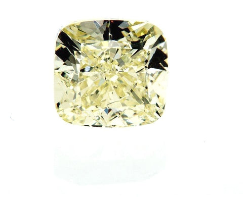 Natural Cushion Cut Fancy Light Yellow Loose Diamond 3.02 Ct VS1 Clarity