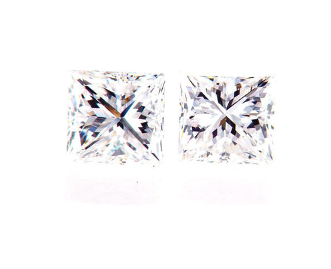 Princess Cut Natural Loose Diamonds GIA Certified MATCHED PAIR FOR EARRING 3/4CT