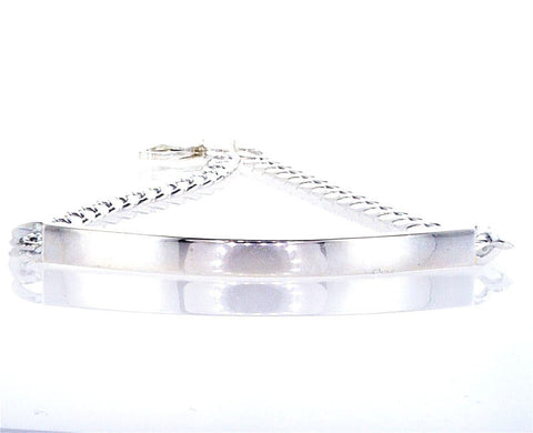 Personalized 100% Sterling Silver Curb CHAIN ID BRACELET Free Custom Engraving