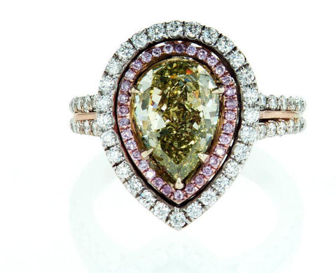 GIA Certified Rare Natural Fancy Green Pear Cut 18k Gold Diamond Ring 3.40 CTW