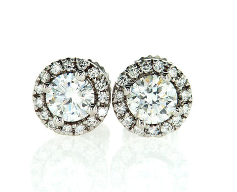 Certified Natural Round Cut Diamond Earrings Halo Stud 14k White Gold 1.50 CTW