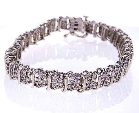 Certified Classic White Gold 3 CT Natural Round Cut Diamond Tennis Bracelet