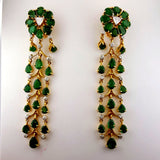 Certified 14k Yellow Gold Natural Diamond and Emerald Chandelier Earrings